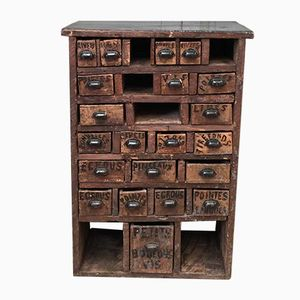 French Industrial Wooden Drawer Cabinet