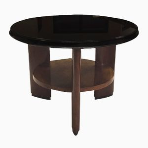 Italian Art Deco Rosewood & Opaline Glass Coffee Table, 1930s