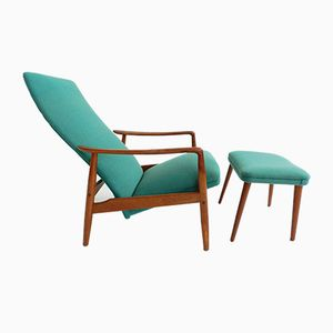 Danish Lounge Chair and Ottoman by Soren Ladefoged, 1960s