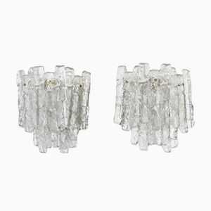 Vintage Ice Glass Wall Lamps from Kalmar, Set of 2