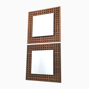 Wall Mirrors with Walnut Frame ascribable to Giovanni Michelucci, 1960s, Set of 2