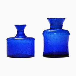 Vases Bleus en Verre par Erik Höglund, Set de 2