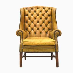 English Art Déco Chesterfield Wing Chair, 1940s