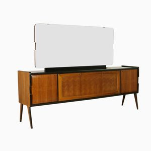 Vintage Italian Rosewood Veneer Sideboard with Mirror from Consorzio Esposizione Mobili Cantù, 1940s