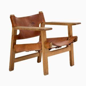 Schwedischer Spanish Stuhl aus Eiche & Leder von Børge Mogensen für Fredericia, 1950er