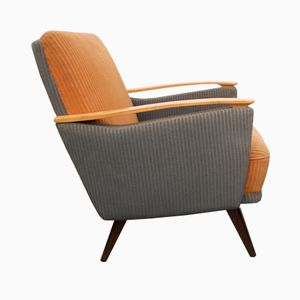 German Pastel Grey-Blue and Apricot Club Chair, 1950s