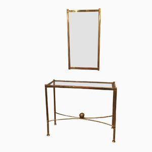 Italian Brass Console Table and Mirror, 1970s