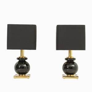 Table Lamps in Brass and Glass from Lumica, 1970s, Set of 2