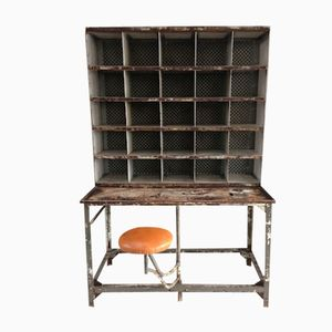 French Industrial Postal Sorting Table with Seat, 1950s