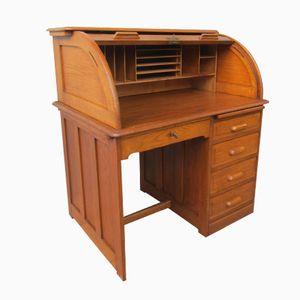 Vintage British Oak Roll Top Desk, 1930s