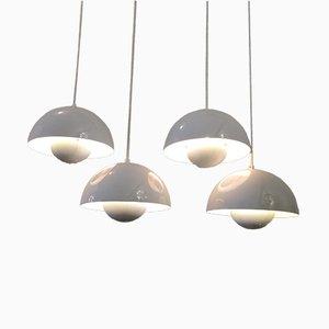 Vintage White Flowerpot Lamps by Verner Panton for Louis Poulsen, Set of 4