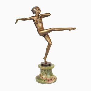 Scultura Art Déco in bronzo e onice di Josef Lorenzl, anni '30