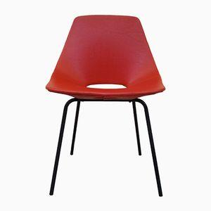 Roter Modell Tonneau Stuhl von Pierre Guariche für Steiner, 1950er