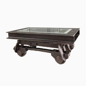Table Basse Vintage Industrielle en Forme de Wagon Ferroviaire