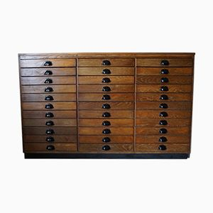 Mid-Century French Oak Apothecary Cabinet