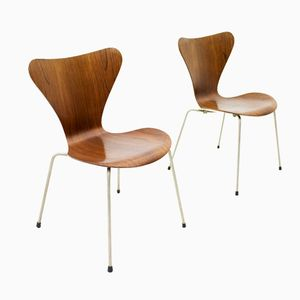 Dänische Modell 3107 Stühle von Arne Jacobsen für Fritz Hansen, 1950er, 2er Set