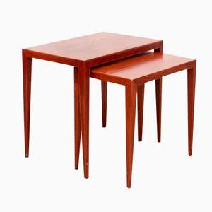 Danish Modern Teak Nesting Side Tables by Severin Hansen for Haslev Mobelfabrik, 1950s