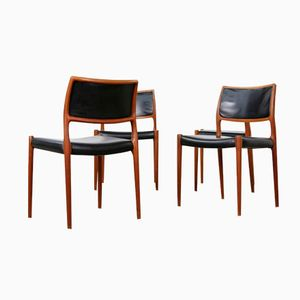 Danish Model 80 Teak Chairs by Niels Møller, 1960s, Set of 4