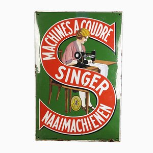 Belgian Advertising Sign for Singer Sewing Machines from Emaillerie Belge, 1920s