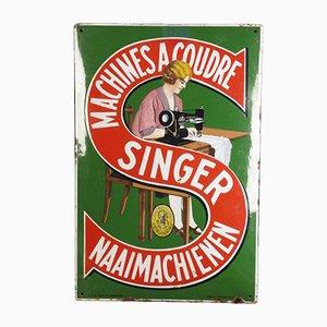 Belgisches Singer Nähmaschinen Werbeschild von Emaillerie Belge, 1920er