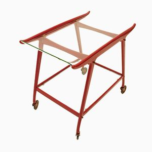 Italian Curved Glass Trolley, 1950s
