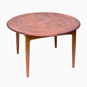 Round Expandable Teak Dining Table by Svend Aage Madsen for K. Knudsen & Son, 1960s