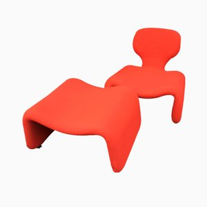 Red Djinn Chair and Ottoman by Olivier Mourgue for Airborne, 1960s
