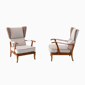 Reclining Wingback Armchairs by Paolo Buffa, 1940, Set of 2