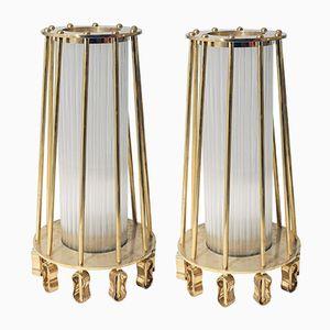 Stehlampen aus Glas & Messing von Venini, 2er Set