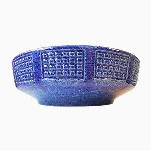 Blue Centerpiece Ceramic Bowl by Per Linnemann-Schmidt for Palshus, 1970s