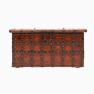 Antique Spanish Wood & Metal Chest