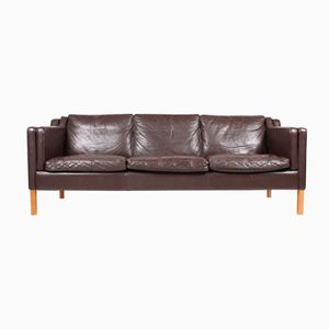 Brown Danish Three-Seater Leather Sofa from Stouby, 1980s
