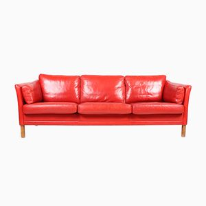 Vintage Danish Three-Seater Red Leather Sofa from Mogens Hansen, 1980s