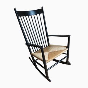 Ebonised J16 Rocking Chair by Hans J. Wegner for FDB Mobler, 1973