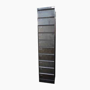 Industrial Brushed Metal Cupboard with Ten Drawers, 1960s