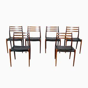 Modell 78 Palisander Esszimmerstühle von Niels O. Møller für J.L.Møllers, 1960er, 6er Set