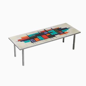 Vintage Table with Decorative Tiles, 1950s