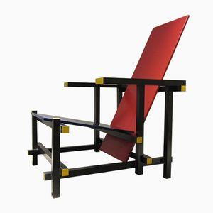 Italienischer Stuhl in Rot & Blau von Gerrit Rietveld für Cassina, 1980er