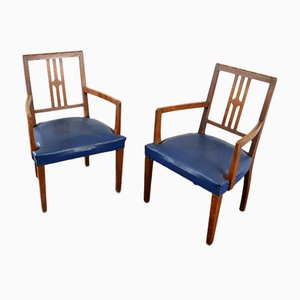 Blue Art Deco Chairs, Set of 2