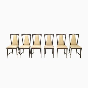 Mahogany & Skai Dining Chairs by Osvaldo Borsani, 1950s, Set of 6