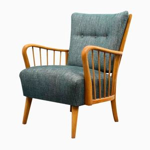 Beech Petrol-Colored Armchair, 1950s