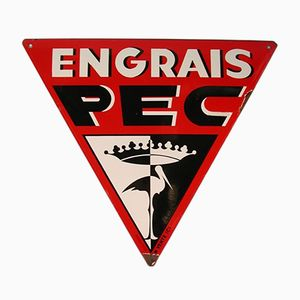 Emailliertes Französisches Engrais PEC Schild von EAS, 1950er