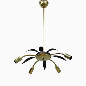 Vintage Italian Brass & Black Metal Ceiling Light