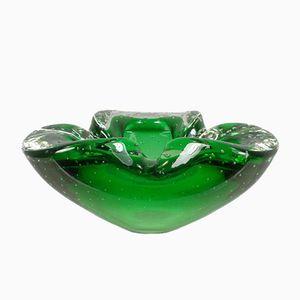 Italian Shaped Green Glass Ashtray with Bubbles, 1950s