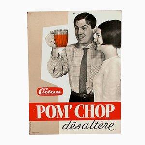 Panneau Publicitaire Cidou Pom´Chop Vintage en Métal, France