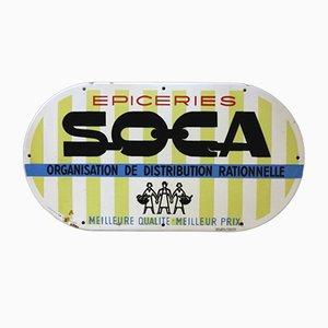 Emailliertes Französisches Vintage SOCA Schild, 1950er
