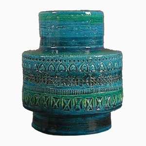 Italienische Rimini Blu Keramikvase von Aldo Londi für Bitossi, 1950er