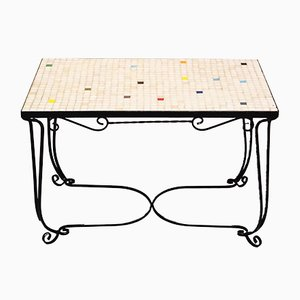 Mid-Century Iron Side Table with Tiles