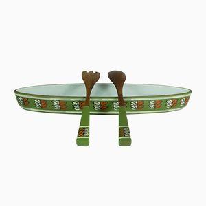 Mid-Century Hot Pot Long Flat Ceramic Bowl & Salad Servers from Ceramano
