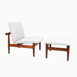 Modell 137 Japan Stuhl & Ottomane von Finn Juhl für France & Son, 1950er